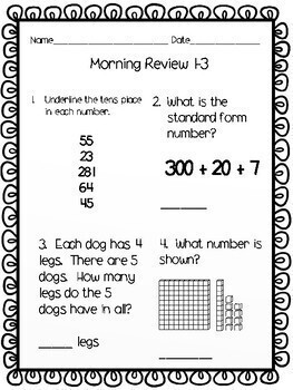 3rd Grade Morning Math Review WHOLE YEAR GROWING BUNDLE