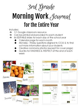 3rd Grade Morning Work Journal for the Entire Year (digital or print)