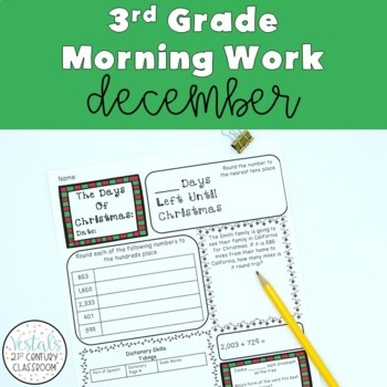3rd Grade Morning Work For December- Math & LA Included