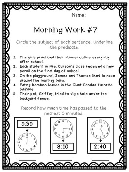 3rd Grade Morning Work Freebie