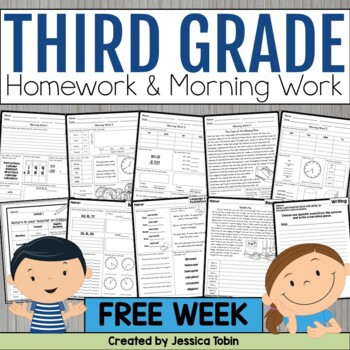 3rd Grade Morning Work & Homework Week 1 Sampler