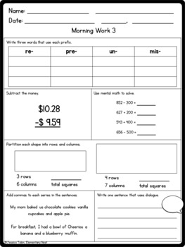 3rd Grade Morning Work Fall Themed by Alyssa Christine | TpT