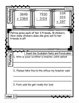 3rd Grade Morning Work Journal Full Year Set [40 weeks]