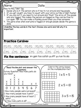 3rd Grade Morning Work Math and ELA