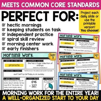 3rd Grade Morning Work - ONE FREE WEEK | Math AND ELA