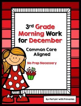 3rd Grade Morning Work for December Common Core Aligned