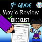 3rd Grade Movie Review Writing Checklist (standards-aligned) - PDF and digital!!