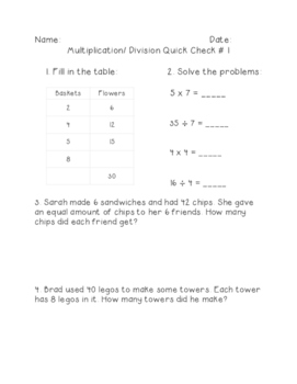 3rd Grade Multiplication & Division Quick Assessments