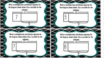 3rd Grade Multiplication & Division Task Cards - Tape Diagram Equations