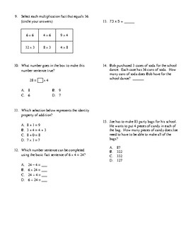 3rd Grade Multiplication, Division, and Properties Unit Test