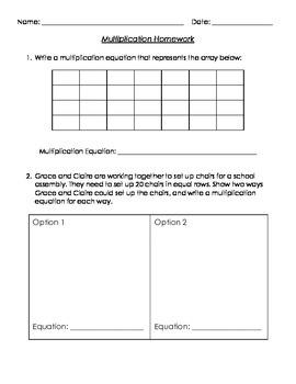 3rd Grade Multiplication Homework (Common Core Aligned)