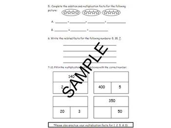 3rd Grade Multiplication Quiz Q1 (x1, 2 ,5, 10) and Review- OAA1& 3, OAC7, NBTA3