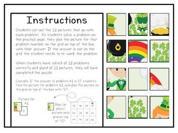 3rd Grade Multiplication: Solve, Snip & Stick; St. Patty's Day Theme