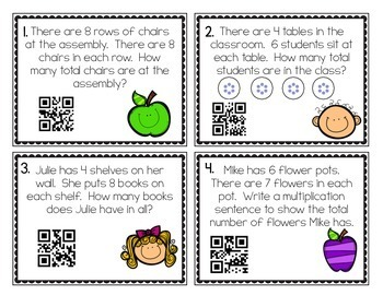 3rd Grade Multiplication Task Cards: Includes QR Codes!