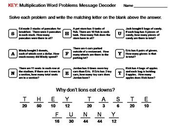 3rd Grade Multiplication Word Problems Activity: Math Message Decoder