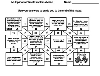 3rd Grade Multiplication Word Problems: Math Maze