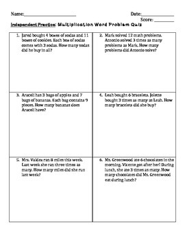 3rd Grade Multiplication Word Problems- STAAR Ready