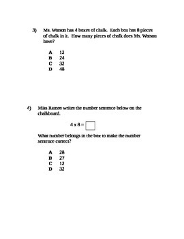3rd Grade Multiplication and Division Assessment