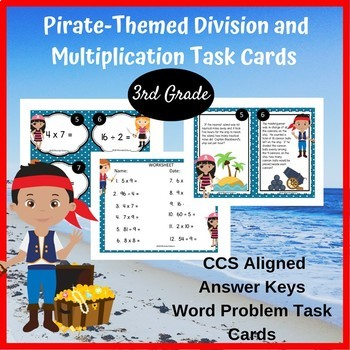 3rd Grade Multiplication and Division Math Task Cards - Pirate-Themed