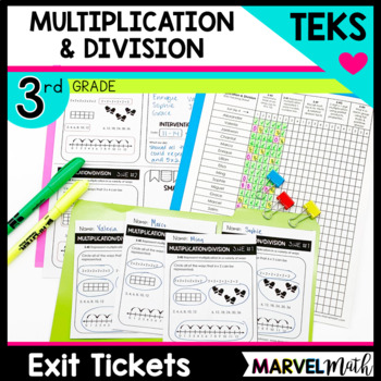 3rd Grade Multiplication and Division TEKS Exit Slips * Exit Tickets