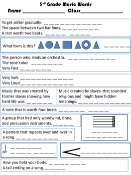 3rd Grade Music Words Review