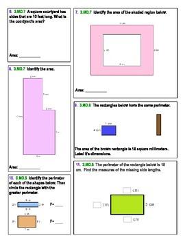 3rd Grade Common Core Assessment:  Perimeter and Area