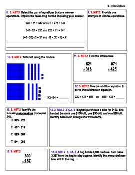 Third Grade Common Core Subtraction Assessment