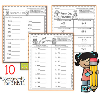 3rd Grade Common Core Math Assessments-Numbers and Operation in Base Ten