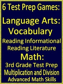 3rd Grade NC EOG Test Prep Math and Reading Game Bundle 6 PowerPoint Games