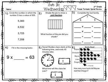 3rd Grade NEW TEKS TX Tornado Spiral Review Pt 3-Set 13 Freebie! Be STAAR Ready