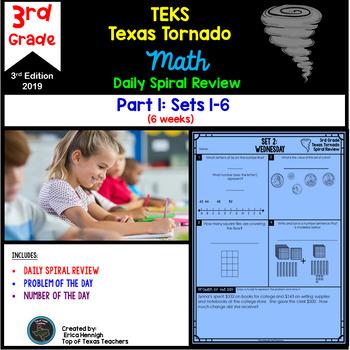 3rd Grade NEW TEKS Texas Tornado Spiral Review  Pt 1 (Sets 1-6) Be STAAR Ready