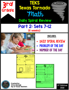 3rd Grade NEW TEKS Texas Tornado Spiral Review  Pt 2 (Sets 7-12) Be STAAR Ready