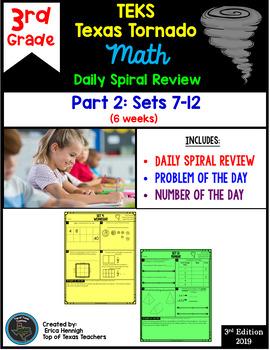 3rd Grade NEW TEKS Texas Tornado Spiral Review  Pt 2 (Sets 7-12) Be STAAR Ready