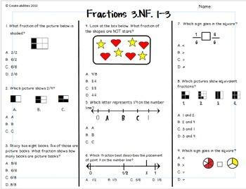 Fractions Test 3rd Grade