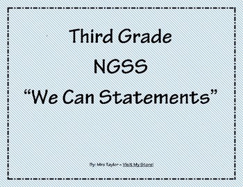 "3rd Grade NGSS ""We Can Statements"""