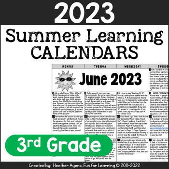2018 3rd Grade NO PREP Summer Calendars