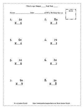 3rd Grade *NUMBER AND OPERATIONS IN BASE TEN* Common Core Pre and Post Tests
