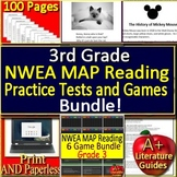 3rd Grade NWEA MAP Test Prep Reading Practice Assessments + Games Bundle!