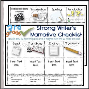 3rd Grade Narrative Writing Checklist~ EDITABLE