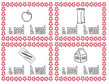 3rd Grade Need or Want Task Cards