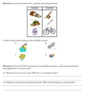 3rd Grade Needs and Wants Quiz