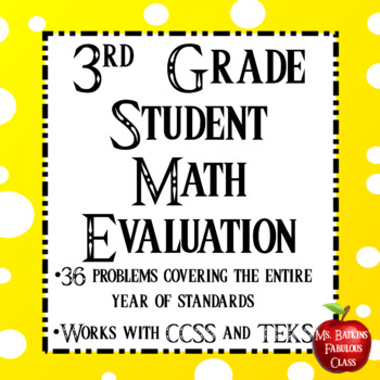 3rd Grade New Student Math Evaluation Newcomer
