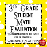 Third Grade New Student Math Evaluation Newcomer with Digi