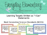3rd Grade Next Gen. Sci. Standards (NGSS) - I Can Statement Posters - EDITABLE