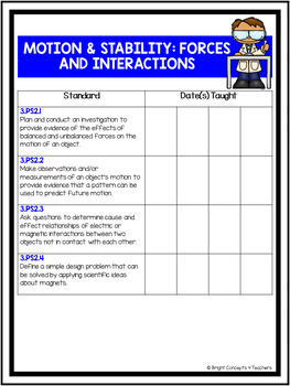 """3rd Grade Next Generation Science Standards """"I Can"""" Posters + Checklists"""