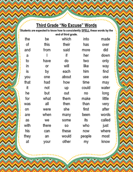3rd Grade No Excuse Words