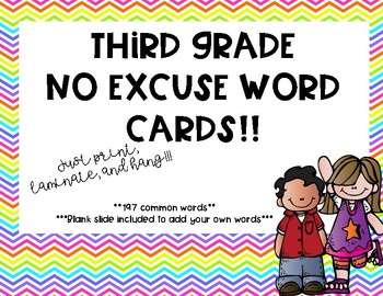 3rd Grade No Excuse Words