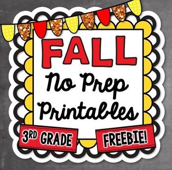 3rd Grade No Prep Fall Printables FREEBIE