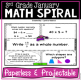 January Daily Math Spiral for 3rd Grade - Common Core, No Prep