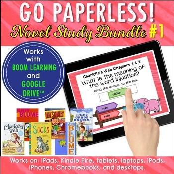 Distance Learning Google Classroom™ Charlotte's Web 3rd Grade Novel Study Bundle
